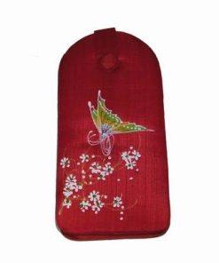 Husa de telefon rosie, din material textil