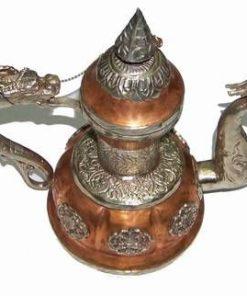 Ceainic vintage din alama cu cele 8 simboluri norocoase