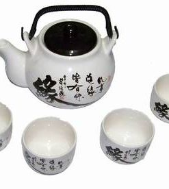 Set de ceai sau sake, compus din ceainic si 4 boluri