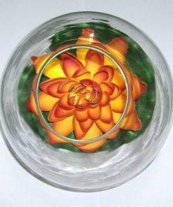 Bol din sticla cu lotus portocaliu