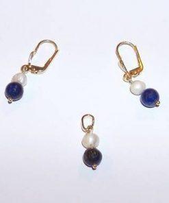 Set din aur de 14 K cu cristale de lapis lazuli si perle
