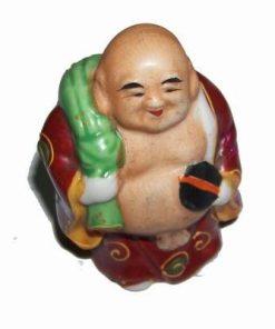 Buddha al bogatiei cu sacul in spate din portelan