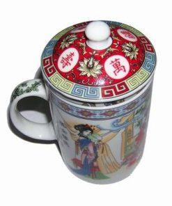 Cana Feng Shui din portelan cu sita si capac si cu zeitati