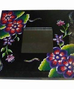 Oglinda Feng Shui cu flori de camp pictate - neagra