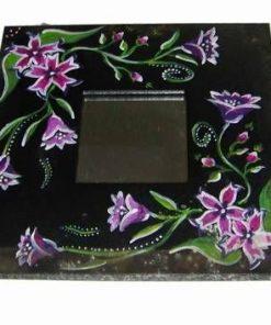 Oglinda Feng Shui cu flori de camp pictate manual