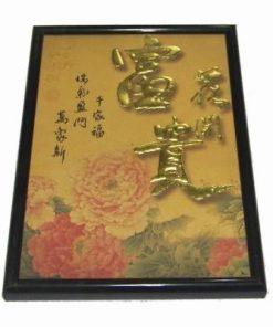 Tablou Feng Shui cu bujor si ideograme