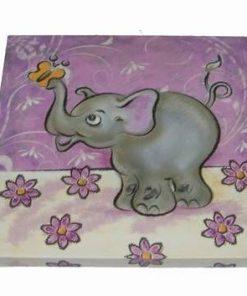 Tablou pe canvas cu elefantul fericirii si fluture