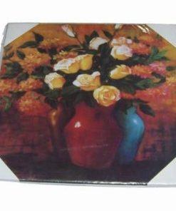 Tablou din lemn cu doua vaze si flori de bun augur