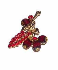 Brosa aurie cu floarea pasiunii si cristale rosii