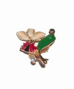 Brosa aurie cu gargarita si floarea norocului