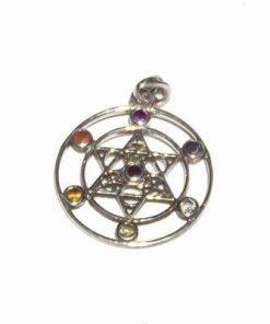 Pandantiv placat cu argint cu cele 7 chakre si pentagrama