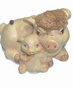 Pusculita din ceramica cu Familie de purcelusi