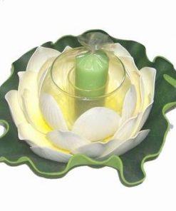 Lotus mare cu suport din sticla si lumanare