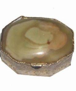 Casetuta  vintage din metal cu onix pentru cristale mici