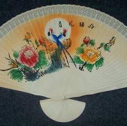 Evantai Feng Shui din lemn cu Pasarile Fericirii