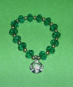Bratara verde cu cristale multifatetate