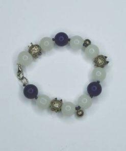 Bratara din lapis lazuli si cuart alb cu pisici norocoase