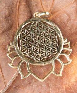 Floarea Vietii si Lotus - pandantiv din alama