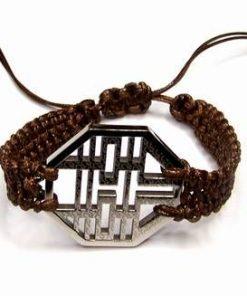 Bratara cu simbolul dublei fericiri argintie/ siret reglabil