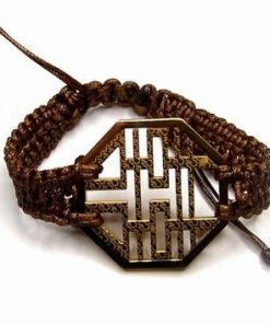Bratara cu simbolul dublei fericiri aurie pe siret reglabil