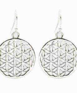 Cercei din alama argintata - Floarea Vietii