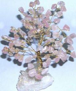 Copacel din cuart roz pe suport din cristal