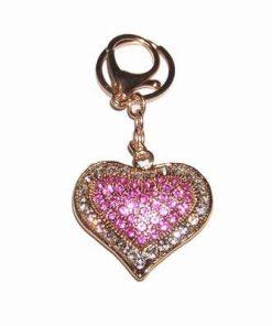 Breloc/ amuleta Feng Shui cu inima dragostei si cristale