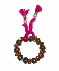 Bratara indiana cu zece sfere aurii colorate si clopotei