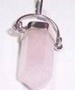 Pandantiv din cristal de cuart roz  argintat