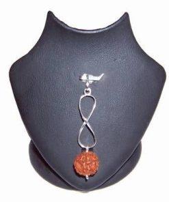 Pandantiv unisex  argintiu cu Rudraksha si cifra 8