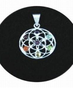 Floarea vietii din alama, argintata, cu cristale