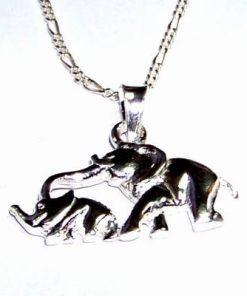Elefantii dragostei din argint, pe lantisor din argint
