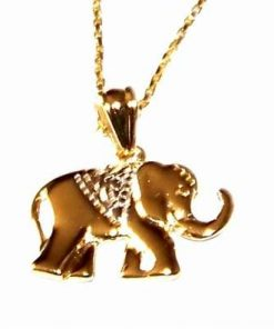Elefantul norocos placat cu aur, pe lantisor placat cu aur
