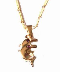 Talisman cu delfinii dragostei, placat cu aur, pe lantisor