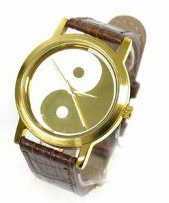 Ceas Feng Shui cu mecanism cuart - Yin-Yang - auriu