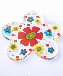 Mini-tablou in forma de floare, transparent, cu model