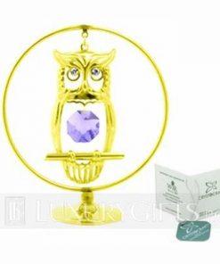 Bufnita intelepciunii, placata cu aur si cristal Swarovski