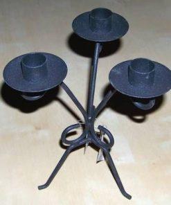 Sfesnic negru din metal cu 3 brate