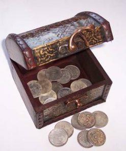Cufarul Abundentei, din lemn cu 21 de monede diferite