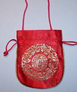 Gentuta-portofel rosie, cu simbolul logevitatii auriu