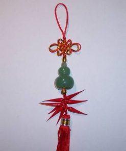 Wu Lou de culoare verde cu nod mistic auriu si ardei rosii