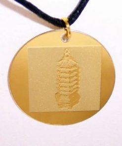 Talisman auriu pe siret negru cu pagoda cu 9 nivele