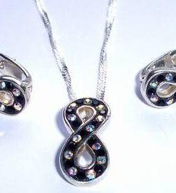 Cercei si colier pe lantisor - Cifra Opt din argint