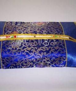 Husa Feng Shui cu simboluri norocoase, albastra cu auriu