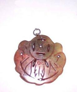 Amuleta Feng Shui din jad - pene de paun si moneda