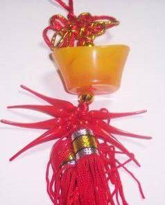 Pepita din jad galben, cu nod mistic si ardei