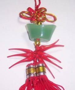 Pepita din jad verde,cu nod mistic si ardei