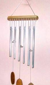 Clopotel de vant cu 12 tuburi argintii - remediu Feng Shui