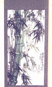 Pergament Feng Shui cu Bambus verde si negru - model unicat!
