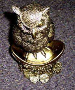 Bufnita aurie XL, pe pepita si monede - remediu Feng Shui